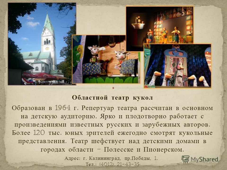 Областной театр кукол Образован в 1964 г. Репертуар театра рассчитан в основном на детскую аудиторию. Ярко и плодотворно работает с произведениями известных русских и зарубежных авторов. Более 120 тыс. юных зрителей ежегодно смотрят кукольные предста