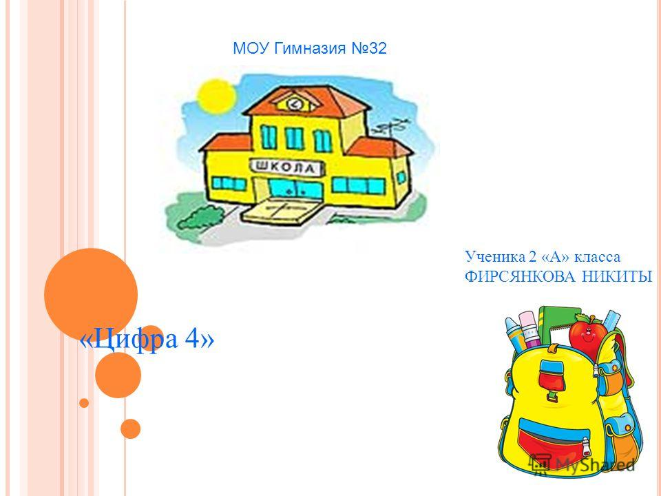 МОУ Гимназия 32 Ученика 2 «А» класса ФИРСЯНКОВА НИКИТЫ «Цифра 4»
