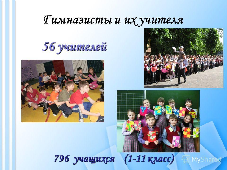 Гимназисты и их учителя 56 учителей 796 учащихся (1-11 класс)