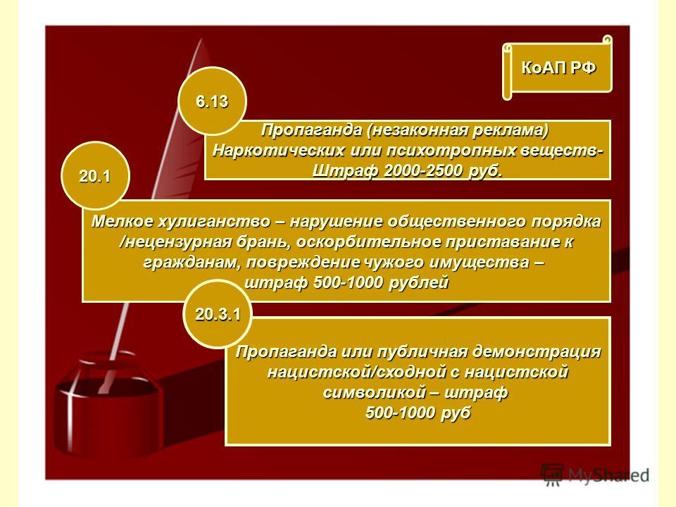 КоАП РФ Пропаганда (незаконная реклама) Наркотических или психотропных веществ- Штраф 2000-2500 руб. 6.13 Мелкое хулиганство – нарушение общественного порядка /нецензурная брань, оскорбительное приставание к гражданам, повреждение чужого имущества –