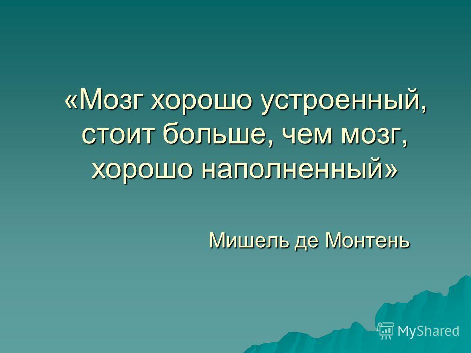 «Мозг хорошо устроенный, стоит больше, чем мозг, хорошо наполненный» Мишель де Монтень