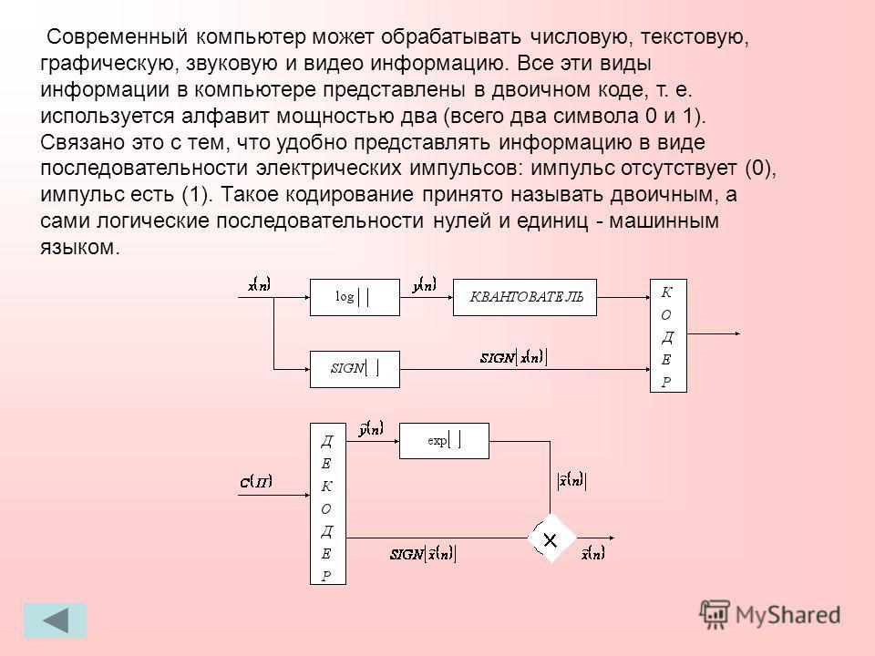 Современный компьютер может обрабатывать числовую, текстовую, графическую, звуковую и видео информацию. Все эти виды информации в компьютере представлены в двоичном коде, т. е. используется алфавит мощностью два (всего два символа 0 и 1). Связано это