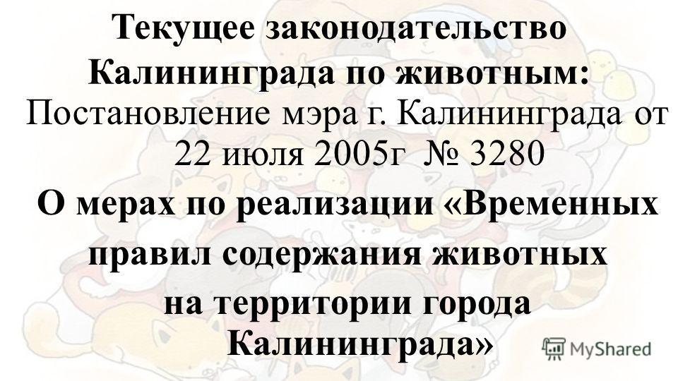 Текущее законодательство Калининграда по животным: Постановление мэра г. Калининграда от 22 июля 2005г 3280 О мерах по реализации «Временных правил содержания животных на территории города Калининграда»
