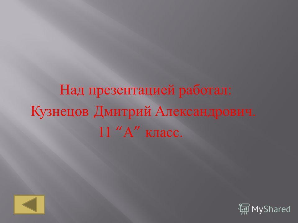 Над п резентацией р аботал : К узнецов Д митрий А лександрович. 11 А к ласс.