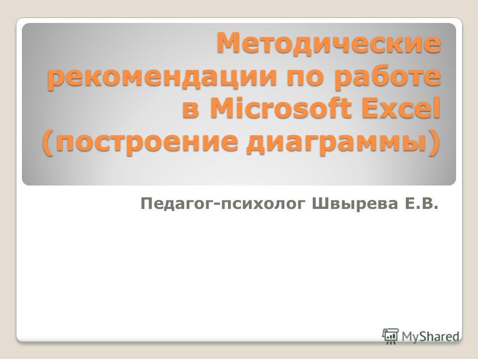 Методические рекомендации по работе в Microsoft Excel (построение диаграммы) Педагог-психолог Швырева Е.В.