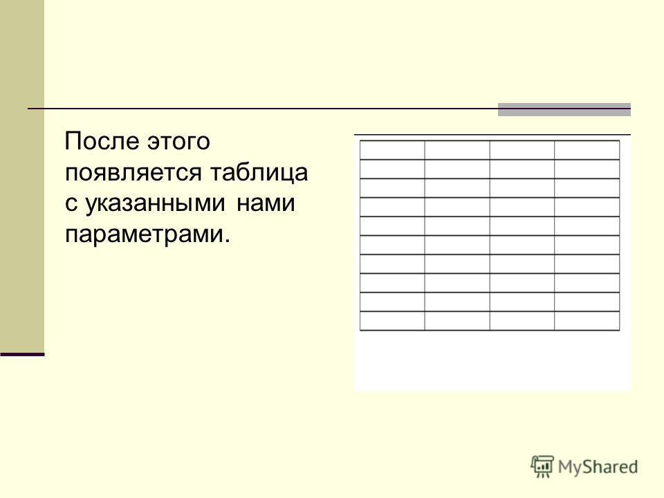 После этого появляется таблица с указанными нами параметрами.