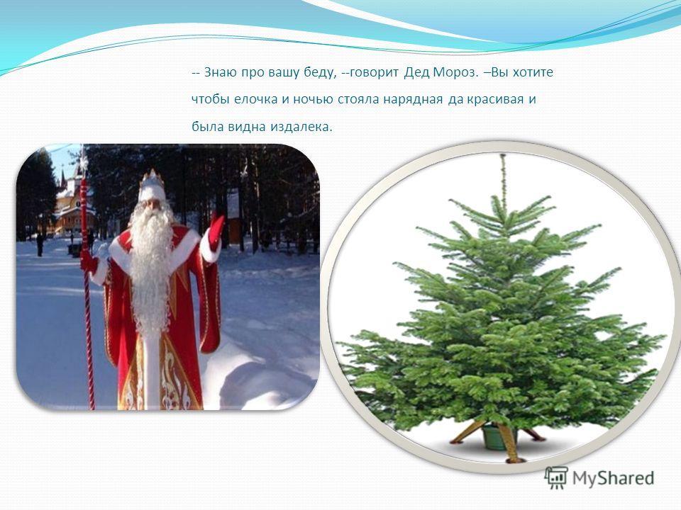 -- Знаю про вашу беду, --говорит Дед Мороз. –Вы хотите чтобы елочка и ночью стояла нарядная да красивая и была видна издалека.