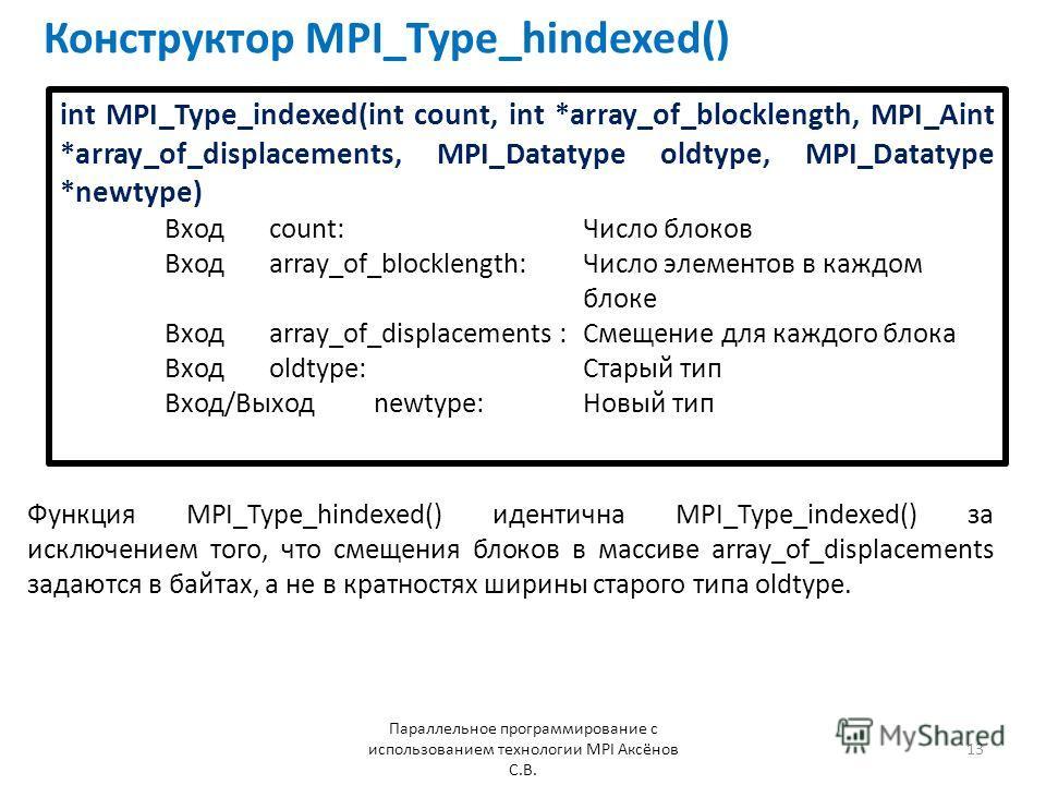 Конструктор MPI_Type_hindexed() Параллельное программирование с использованием технологии MPI Аксёнов С.В. 13 int MPI_Type_indexed(int count, int *array_of_blocklength, MPI_Aint *array_of_displacements, MPI_Datatype oldtype, MPI_Datatype *newtype) Вх