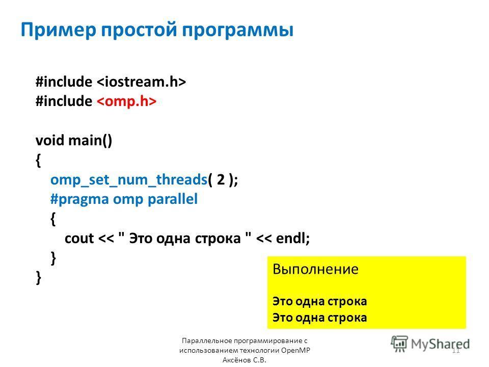 Пример простой программы Параллельное программирование с использованием технологии OpenMP Аксёнов С.В. #include void main() { omp_set_num_threads( 2 ); #pragma omp parallel { cout