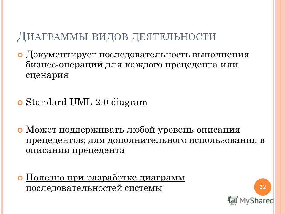 Д ИАГРАММЫ ВИДОВ ДЕЯТЕЛЬНОСТИ Документирует последовательность выполнения бизнес-операций для каждого прецедента или сценария Standard UML 2.0 diagram Может поддерживать любой уровень описания прецедентов; для дополнительного использования в описании