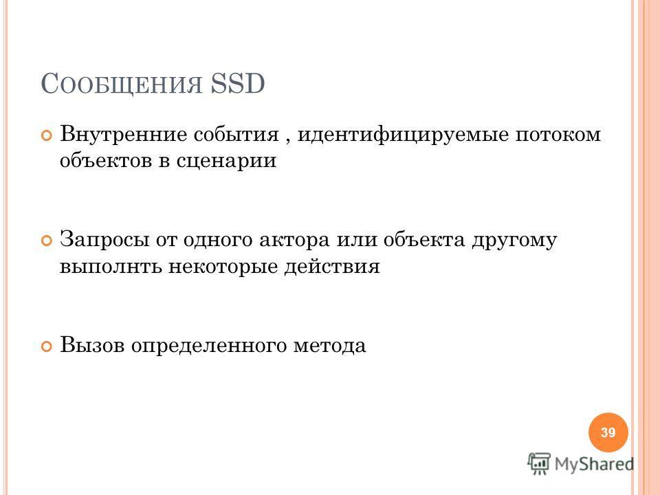 С ООБЩЕНИЯ SSD Внутренние события, идентифицируемые потоком объектов в сценарии Запросы от одного актора или объекта другому выполнть некоторые действия Вызов определенного метода 39