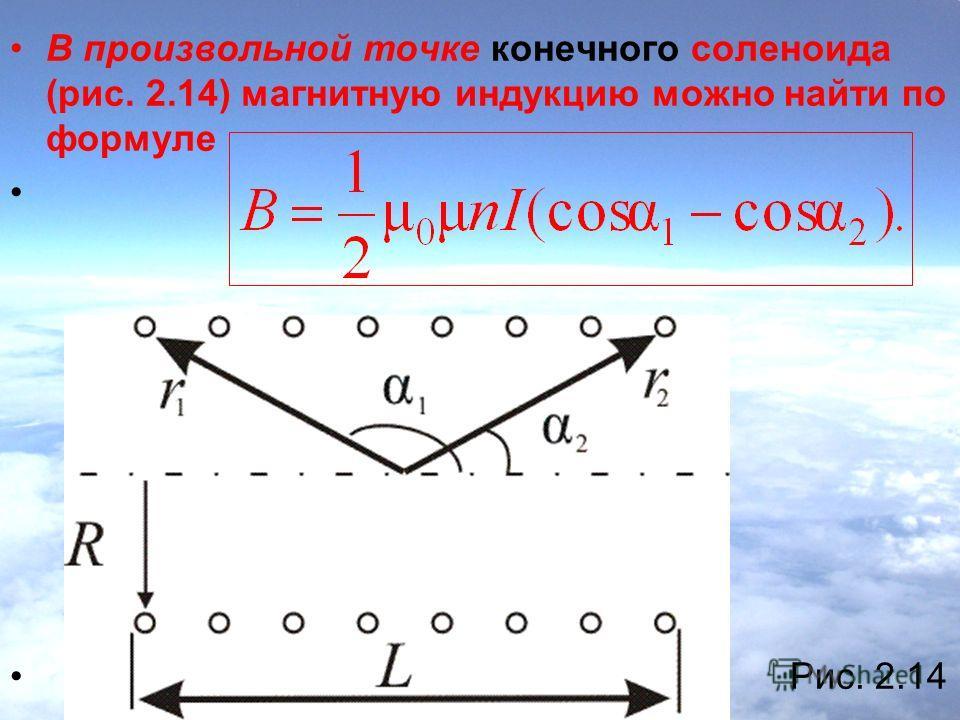 В произвольной точке конечного соленоида (рис. 2.14) магнитную индукцию можно найти по формуле Рис. 2.14