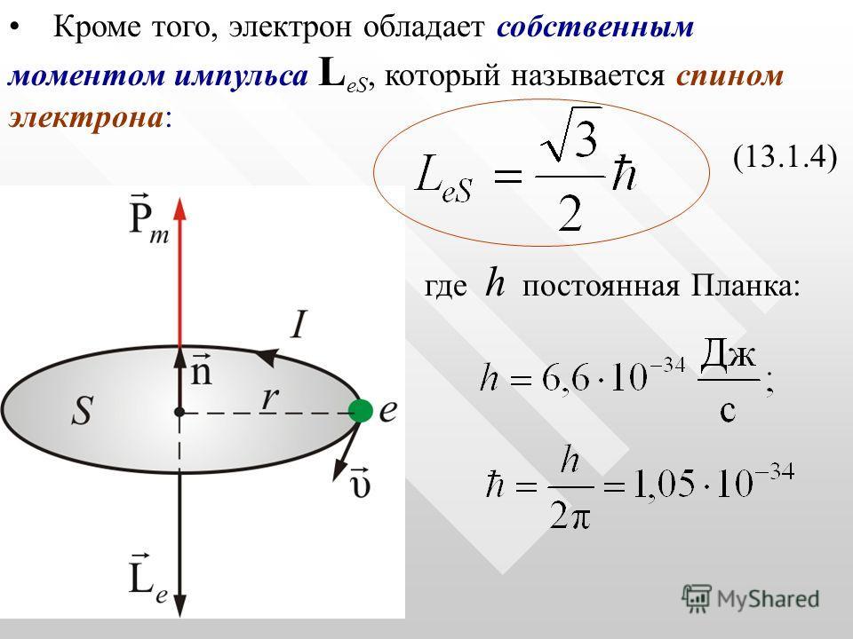 Кроме того, электрон обладает собственным моментом импульса L еS, который называется спином электрона: (13.1.4) где h постоянная Планка: