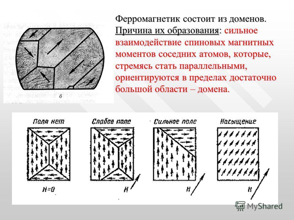 Ферромагнетик состоит из доменов. Причина их образования: сильное взаимодействие спиновых магнитных моментов соседних атомов, которые, стремясь стать параллельными, ориентируются в пределах достаточно большой области – домена.
