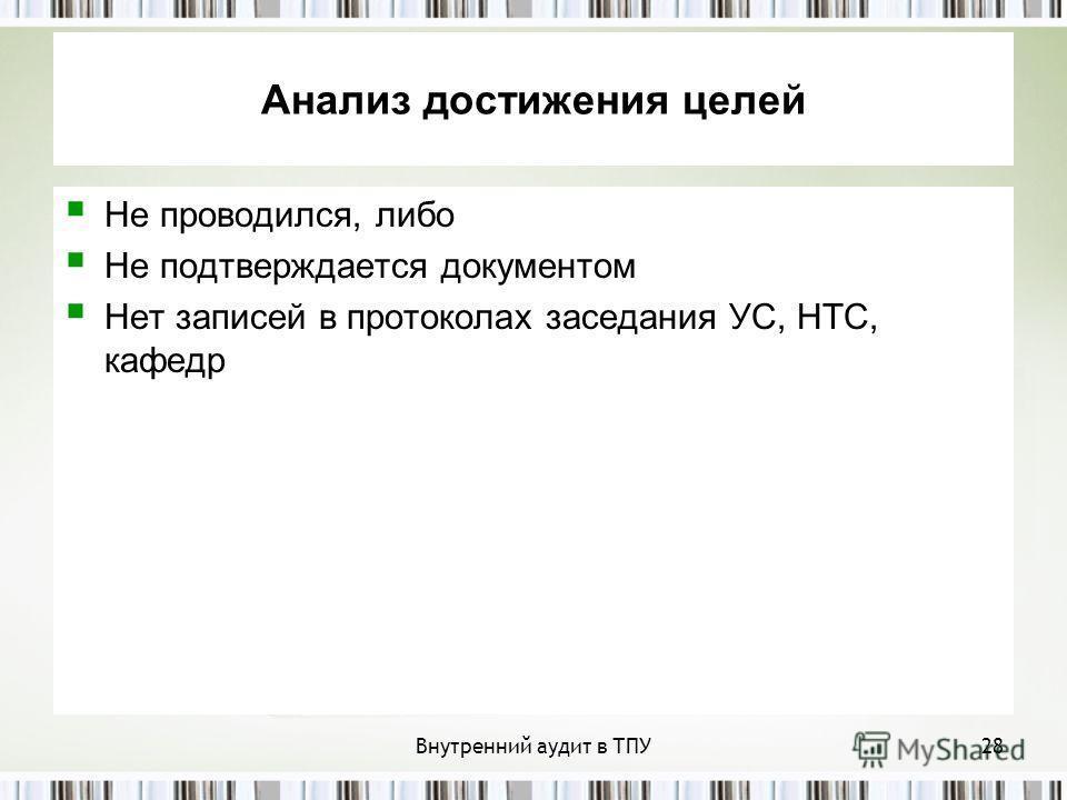 Внутренний аудит в ТПУ28 Анализ достижения целей Не проводился, либо Не подтверждается документом Нет записей в протоколах заседания УС, НТС, кафедр