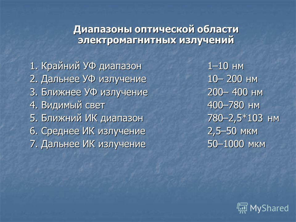 Диапазоны оптической области электромагнитных излучений 1. Крайний УФ диапазон1–10 нм 2. Дальнее УФ излучение10– 200 нм 3. Ближнее УФ излучение200– 400 нм 4. Видимый свет400–780 нм 5. Ближний ИК диапазон780–2,5*103 нм 6. Среднее ИК излучение2,5–50 мк