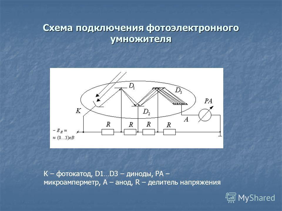 Схема подключения фотоэлектронного умножителя К – фотокатод, D1…D3 – диноды, РА – микроамперметр, А – анод, R – делитель напряжения