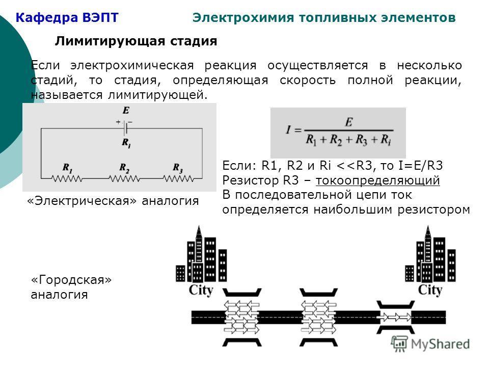 Кафедра ВЭПТ Электрохимия топливных элементов Лимитирующая стадия Если электрохимическая реакция осуществляется в несколько стадий, то стадия, определяющая скорость полной реакции, называется лимитирующей. Если: R1, R2 и Ri