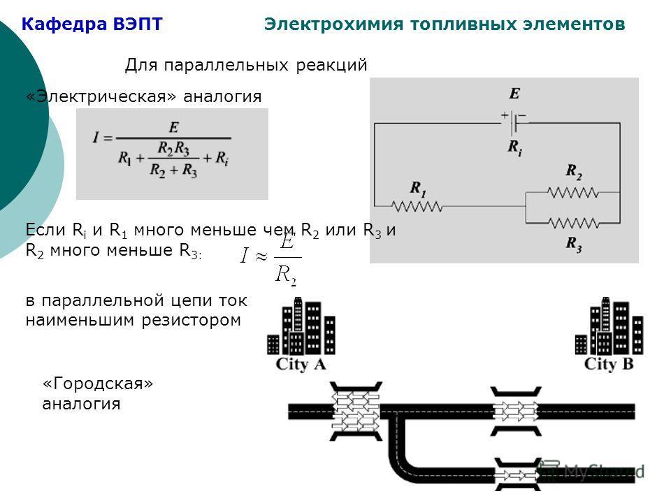 Кафедра ВЭПТ Электрохимия топливных элементов Для параллельных реакций «Электрическая» аналогия Если R i и R 1 много меньше чем R 2 или R 3 и R 2 много меньше R 3: в параллельной цепи ток определяется наименьшим резистором «Городская» аналогия