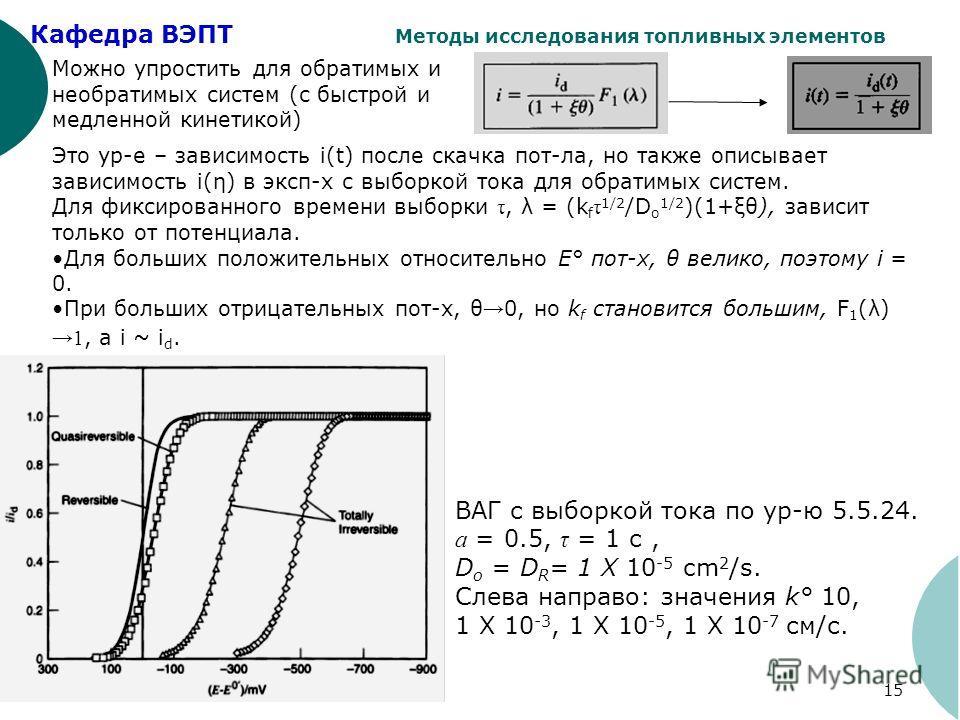 Кафедра ВЭПТ Методы исследования топливных элементов 15 Можно упростить для обратимых и необратимых систем (с быстрой и медленной кинетикой) Это ур-е – зависимость i(t) после скачка пот-ла, но также описывает зависимость i(η) в эксп-х с выборкой тока