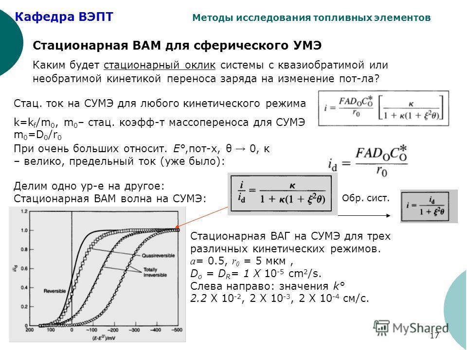 Кафедра ВЭПТ Методы исследования топливных элементов 17 Стационарная ВАМ для сферического УМЭ Каким будет стационарный оклик системы с квазиобратимой или необратимой кинетикой переноса заряда на изменение пот-ла? Стац. ток на СУМЭ для любого кинетиче