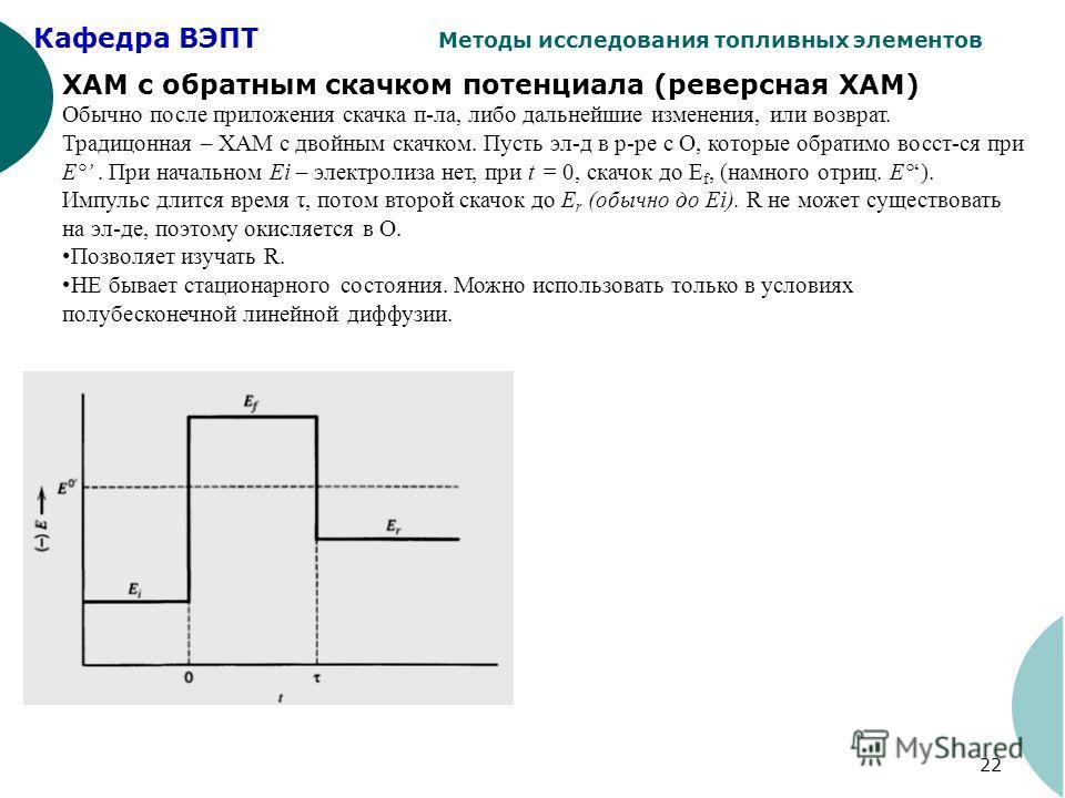 Кафедра ВЭПТ Методы исследования топливных элементов 22 ХАМ с обратным скачком потенциала (реверсная ХАМ) Обычно после приложения скачка п-ла, либо дальнейшие изменения, или возврат. Традицонная – ХАМ с двойным скачком. Пусть эл-д в р-ре с О, которые