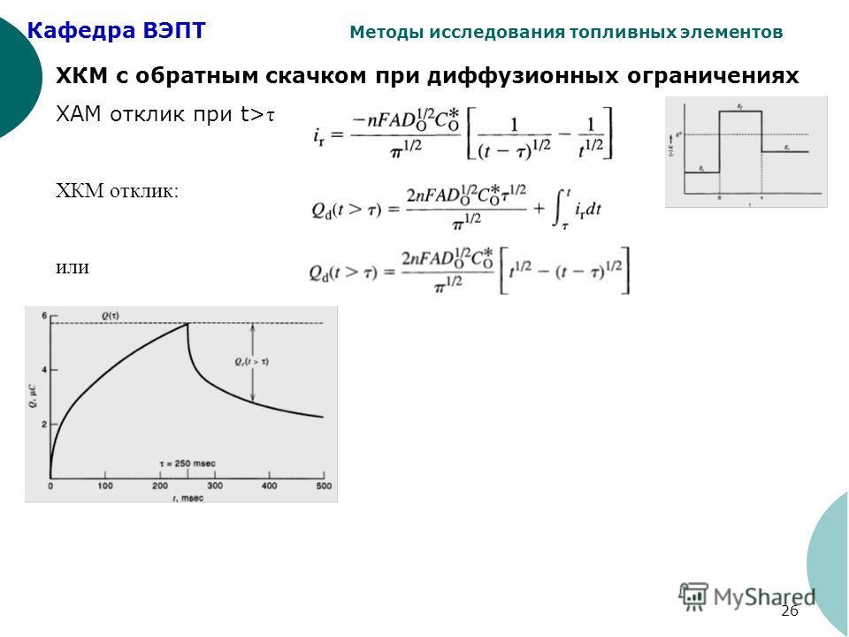 Кафедра ВЭПТ Методы исследования топливных элементов 26 ХКМ с обратным скачком при диффузионных ограничениях ХАМ отклик при t> τ ХКМ отклик: или