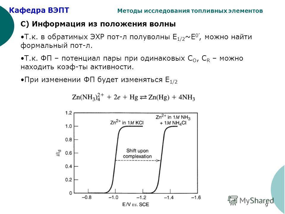 Кафедра ВЭПТ Методы исследования топливных элементов 9 С) Информация из положения волны Т.к. в обратимых ЭХР пот-л полуволны Е 1/2 ~E 0, можно найти формальный пот-л. Т.к. ФП – потенциал пары при одинаковых С O, С R – можно находить коэф-ты активност