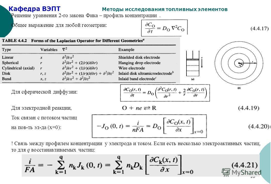 Кафедра ВЭПТ Методы исследования топливных элементов 18 Решение уравнения 2-го закона Фика – профиль концентрации. Общее выражение для любой геометрии: Для электродной реакции, Ток связан с потоком частиц на пов-ть эл-да (х=0): ! Связь между профилем