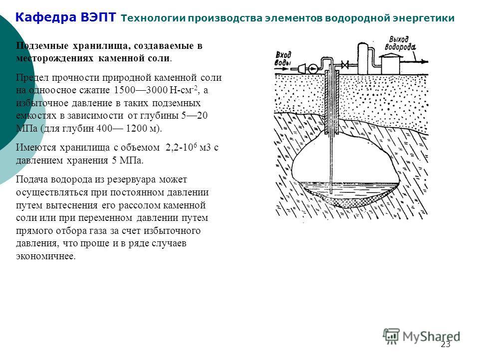 Кафедра ВЭПТ Технологии производства элементов водородной энергетики 23 Подземные хранилища, создаваемые в месторождениях каменной соли. Предел прочности природной каменной соли на одноосное сжатие 15003000 Н-см -2, а избыточное давление в таких подз