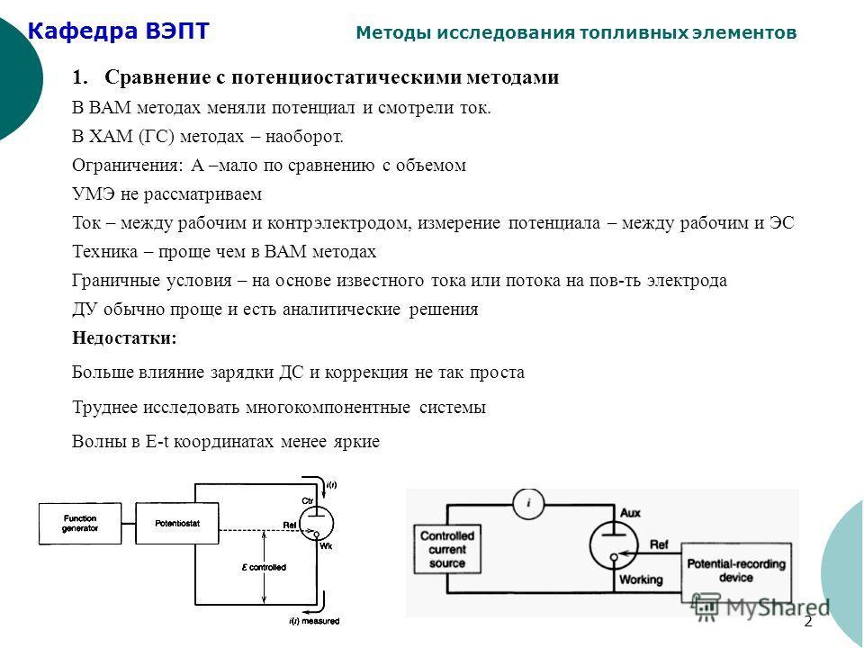 Кафедра ВЭПТ Методы исследования топливных элементов 2 1.Сравнение с потенциостатическими методами В ВАМ методах меняли потенциал и смотрели ток. В ХАМ (ГС) методах – наоборот. Ограничения: А –мало по сравнению с объемом УМЭ не рассматриваем Ток – ме