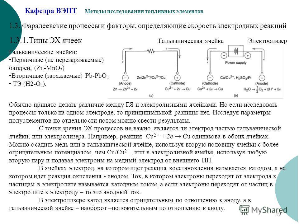 Кафедра ВЭПТ Методы исследования топливных элементов 22 1.3. Фарадеевские процессы и факторы, определяющие скорость электродных реакций 1.3.1.Типы ЭХ ячеек Гальваническая ячейкаЭлектролизер Гальванические ячейки: Первичные (не перезаряжаемые) батареи