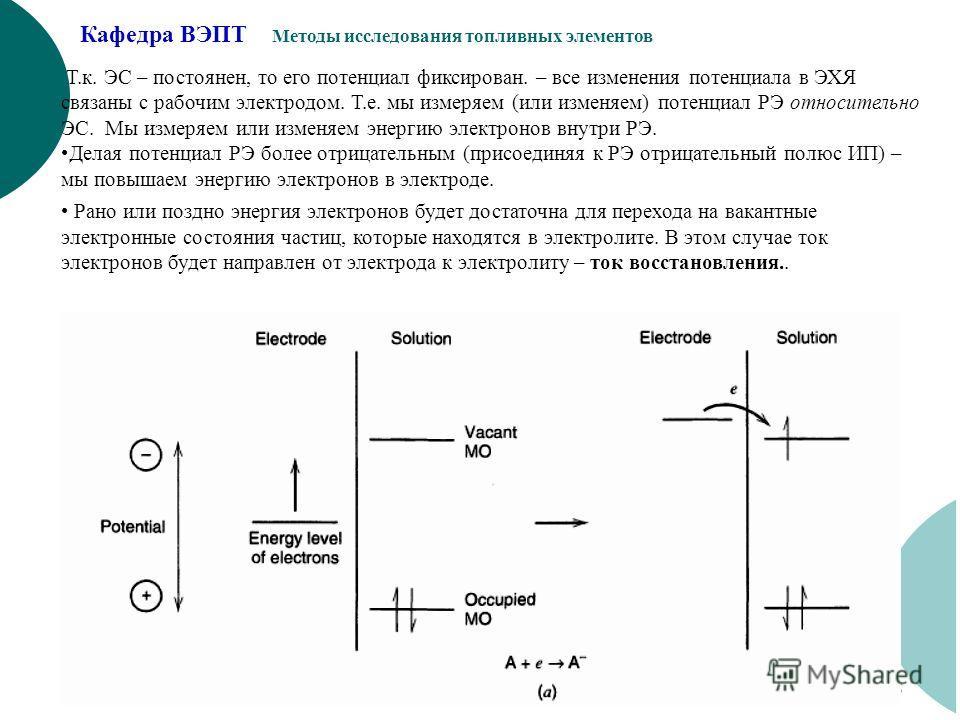 Кафедра ВЭПТ Методы исследования топливных элементов 5 Т.к. ЭС – постоянен, то его потенциал фиксирован. – все изменения потенциала в ЭХЯ связаны с рабочим электродом. Т.е. мы измеряем (или изменяем) потенциал РЭ относительно ЭС. Мы измеряем или изме