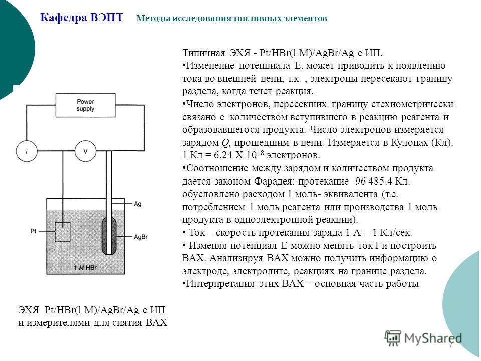 Кафедра ВЭПТ Методы исследования топливных элементов 7 ЭХЯ Pt/HBr(l M)/AgBr/Ag с ИП и измерителями для снятия ВАХ Типичная ЭХЯ - Pt/HBr(l M)/AgBr/Ag с ИП. Изменение потенциала Е, может приводить к появлению тока во внешней цепи, т.к., электроны перес
