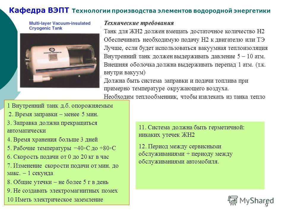 Кафедра ВЭПТ Технологии производства элементов водородной энергетики 9 Технические требования Танк для ЖН2 должен вмещать достаточное количество Н2 Обеспечивать необходимую подачу Н2 к двигателю или ТЭ Лучше, если будет использоваться вакуумная тепло