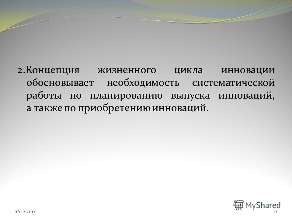 2.Концепция жизненного цикла инновации обосновывает необходимость систематической работы по планированию выпуска инноваций, а также по приобретению инноваций. 1206.12.2013