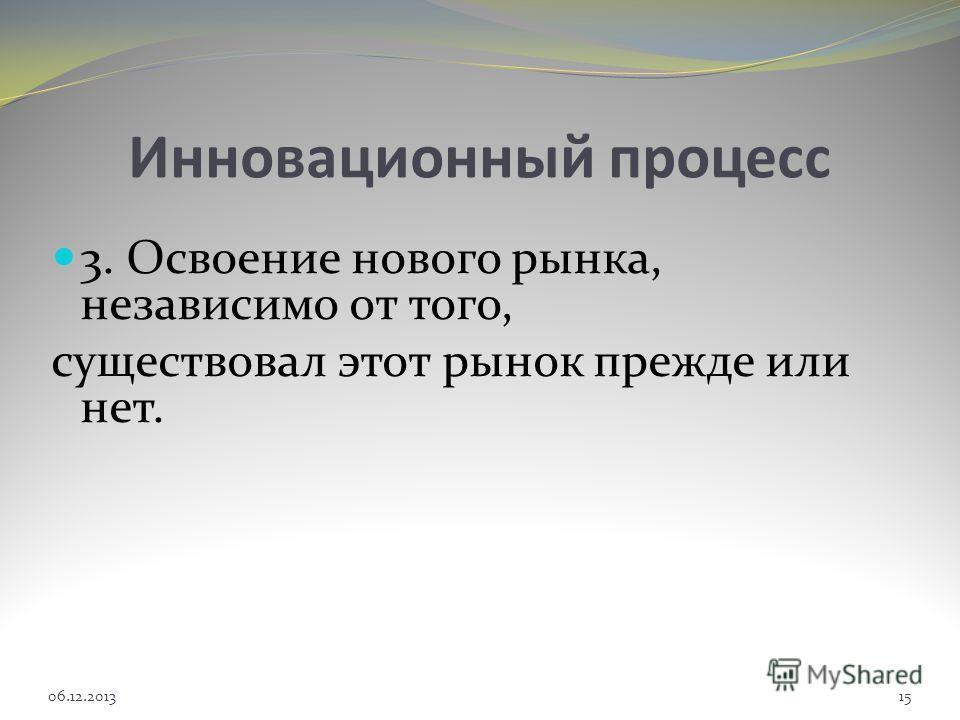 Инновационный процесс 3. Освоение нового рынка, независимо от того, существовал этот рынок прежде или нет. 06.12.201315