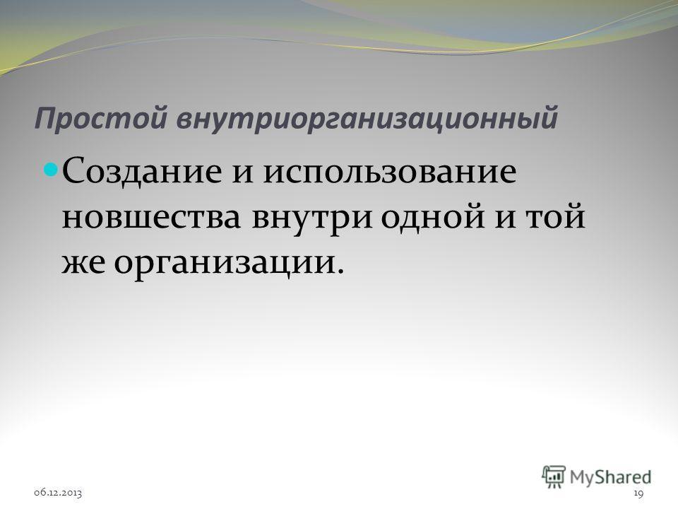 Простой внутриорганизационный Создание и использование новшества внутри одной и той же организации. 06.12.201319