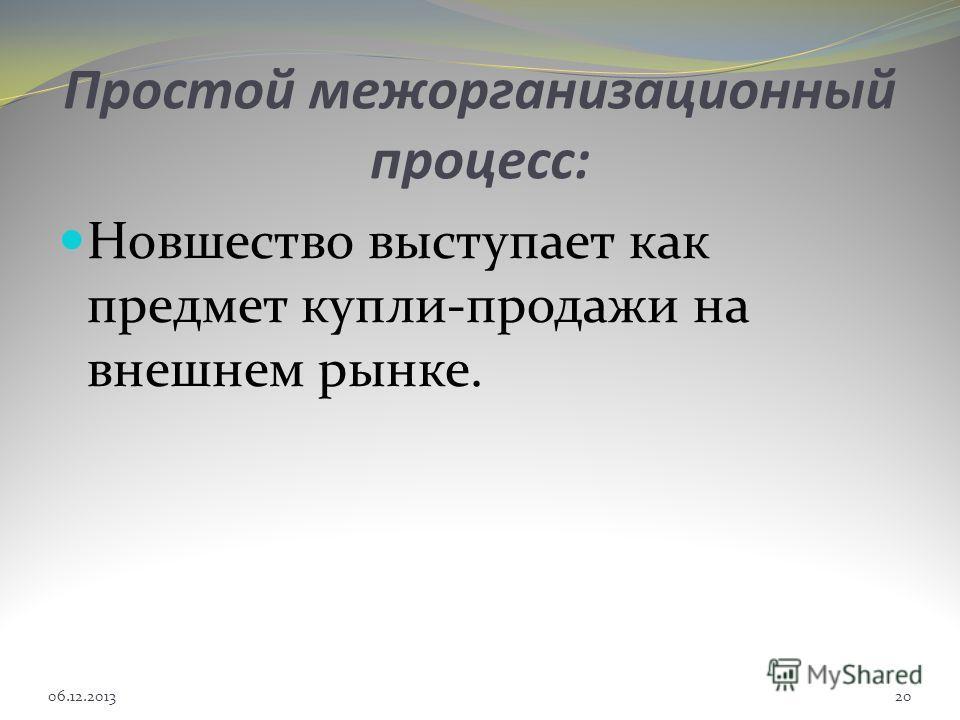 Простой межорганизационный процесc: Новшество выступает как предмет купли-продажи на внешнем рынке. 06.12.201320