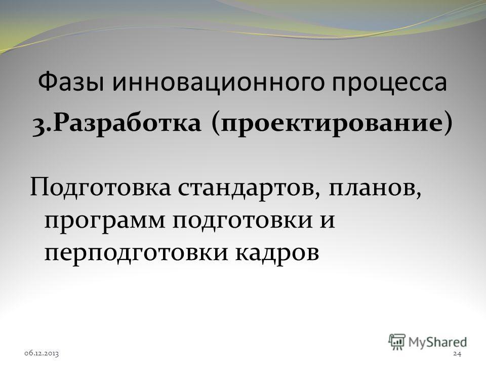 Фазы инновационного процесса 3.Разработка (проектирование) Подготовка стандартов, планов, программ подготовки и перподготовки кадров 06.12.201324