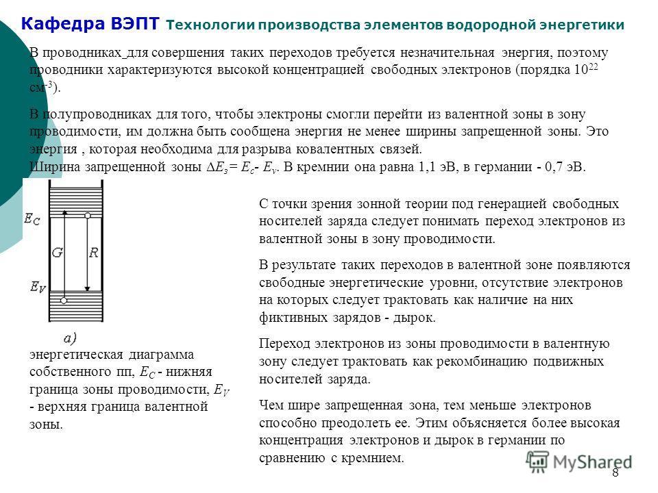 Кафедра ВЭПТ Технологии производства элементов водородной энергетики 8 В проводниках для совершения таких переходов требуется незначительная энергия, поэтому проводники характеризуются высокой концентрацией свободных электронов (порядка 10 22 см -3 )