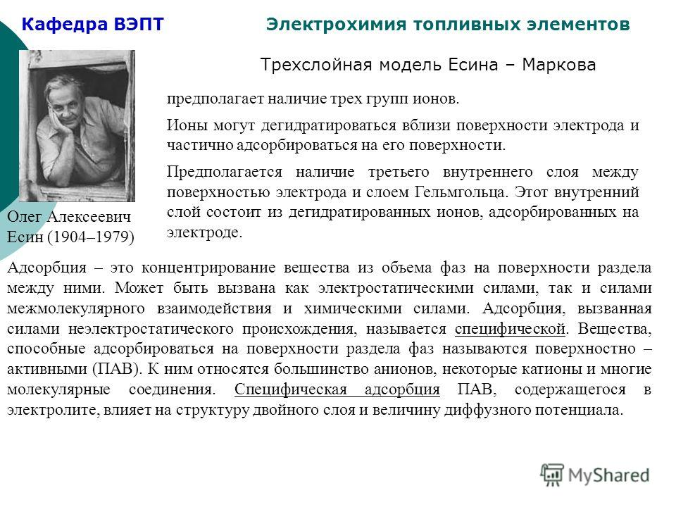 Кафедра ВЭПТ Электрохимия топливных элементов Трехслойная модель Есина – Маркова Олег Алексеевич Есин (1904–1979) предполагает наличие трех групп ионов. Ионы могут дегидратироваться вблизи поверхности электрода и частично адсорбироваться на его повер