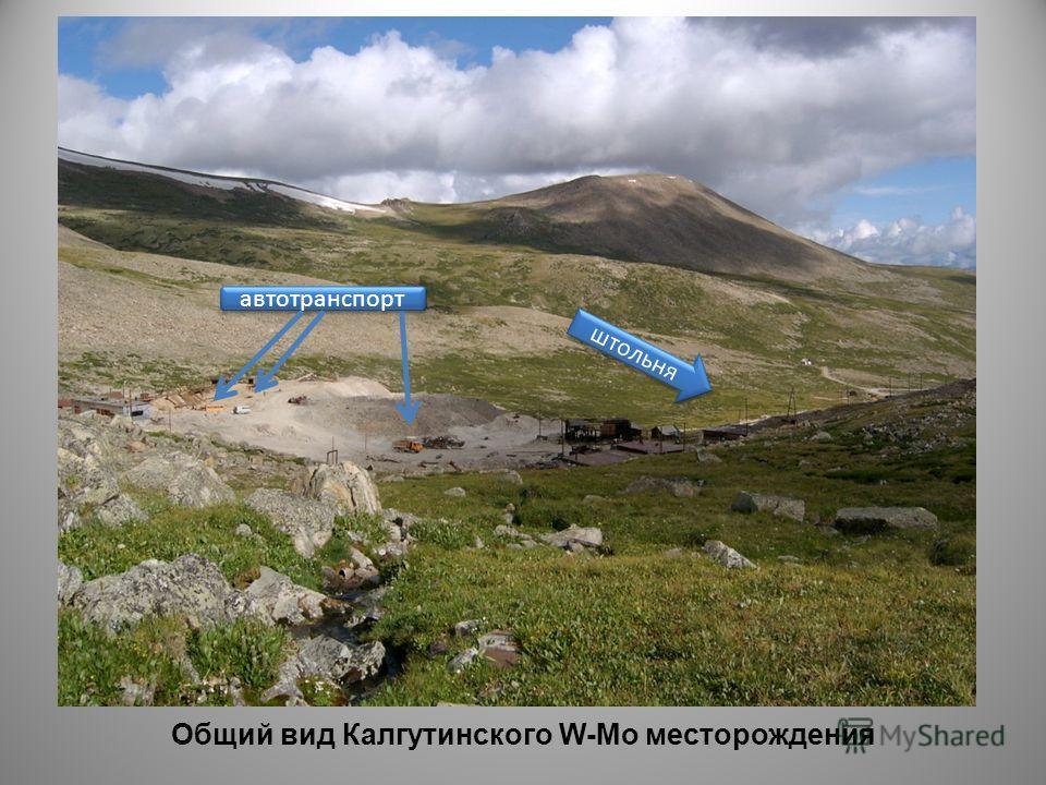 Общий вид Калгутинского W-Mo месторождения штольня автотранспорт