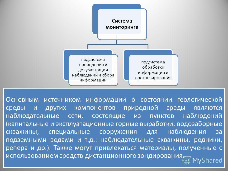 Основным источником информации о состоянии геологической среды и других компонентов природной среды являются наблюдательные сети, состоящие из пунктов наблюдений (капитальные и эксплуатационные горные выработки, водозаборные скважины, специальные соо