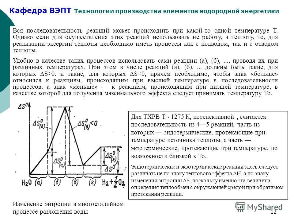 Кафедра ВЭПТ Технологии производства элементов водородной энергетики 12 Вся последовательность реакций может происходить при какой-то одной температуре Т. Однако если для осуществления этих реакций использовать не работу, а теплоту, то, для реализаци