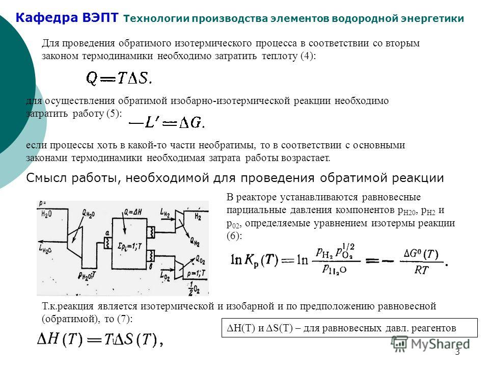 Кафедра ВЭПТ Технологии производства элементов водородной энергетики 3 Для проведения обратимого изотермического процесса в соответствии со вторым законом термодинамики необходимо затратить теплоту (4): для осуществления обратимой изобарно-изотермиче