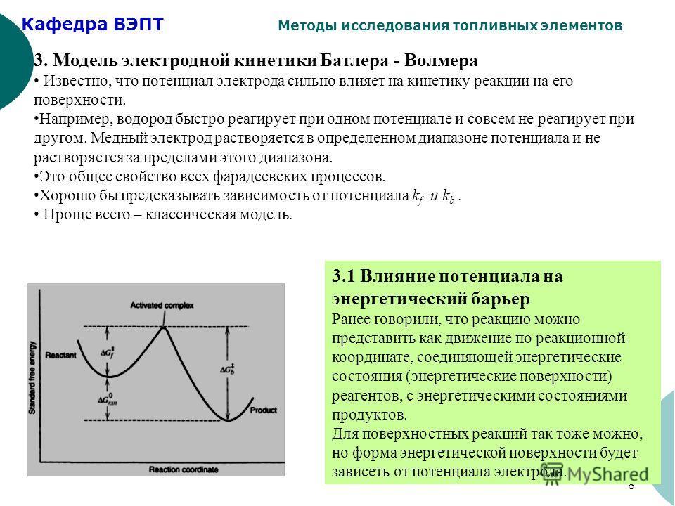 Кафедра ВЭПТ Методы исследования топливных элементов 8 3. Модель электродной кинетики Батлера - Волмера Известно, что потенциал электрода сильно влияет на кинетику реакции на его поверхности. Например, водород быстро реагирует при одном потенциале и