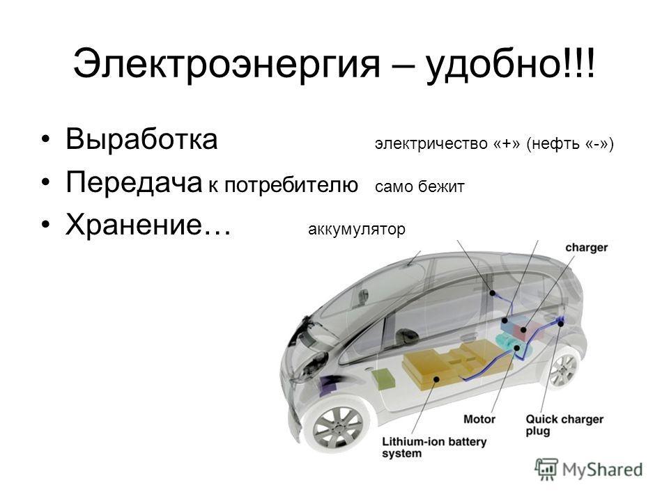 Электроэнергия – удобно!!! Выработка электричество «+» (нефть «-») Передача к потребителю само бежит Хранение… аккумулятор