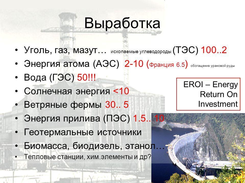 Выработка Уголь, газ, мазут… ископаемые углеводороды (ТЭС) 100..2 Энергия атома (АЭС) 2-10 ( Франция 6.5 ) обогащение урановой руды Вода (ГЭС) 50!!! Солнечная энергия