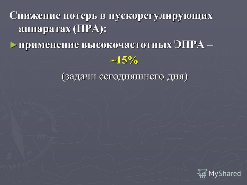 Снижение потерь в пускорегулирующих аппаратах (ПРА): применение высокочастотных ЭПРА – применение высокочастотных ЭПРА – ~15% (задачи сегодняшнего дня)